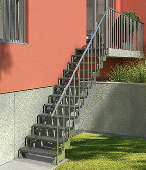 aussentreppe gardentop stahlwangentreppe mit. Black Bedroom Furniture Sets. Home Design Ideas